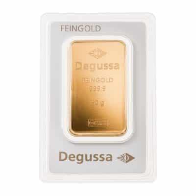 50g Goldbarren Degussa verpackt Vorderseite
