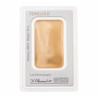 50g Goldbarren Degussa verpackt Rückseite