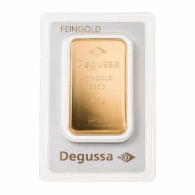 100g Goldbarren Degussa verpackt Vorderseite