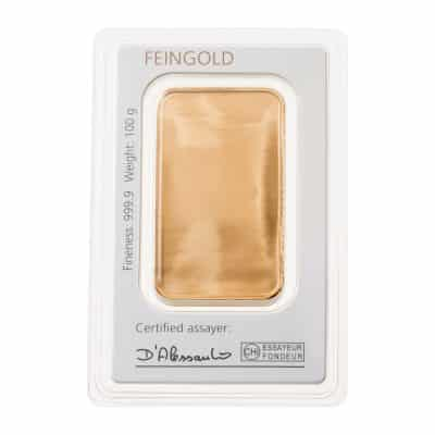100g Goldbarren Degussa verpackt Rückseite