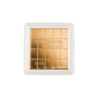 20g Goldbarren Degussa Tafelbarren verpackt Vorderseite