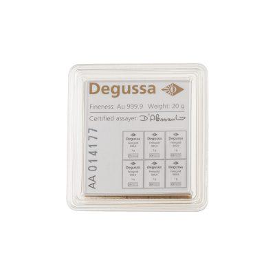 20g Goldbarren Degussa Tafelbarren verpackt Rückseite
