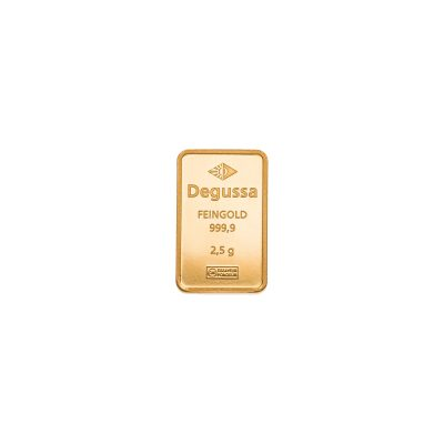 2,5g Goldbarren von Degussa Vorderseite