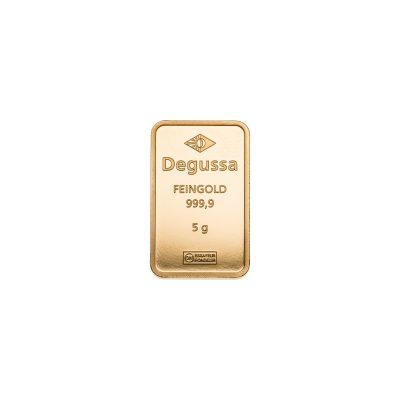 5g Goldbarren Degussa Vorderseite