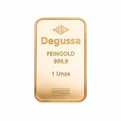 1 Unze Goldbarren Degussa Vorderseite