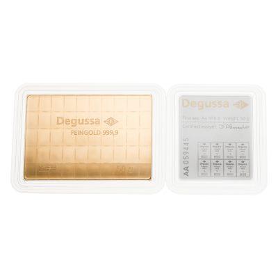 50g Goldbarren Degussa Tafelbarren Zertifikat Rückseite