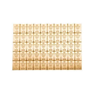 50g Goldbarren Degussa Tafelbarren Vorderseite