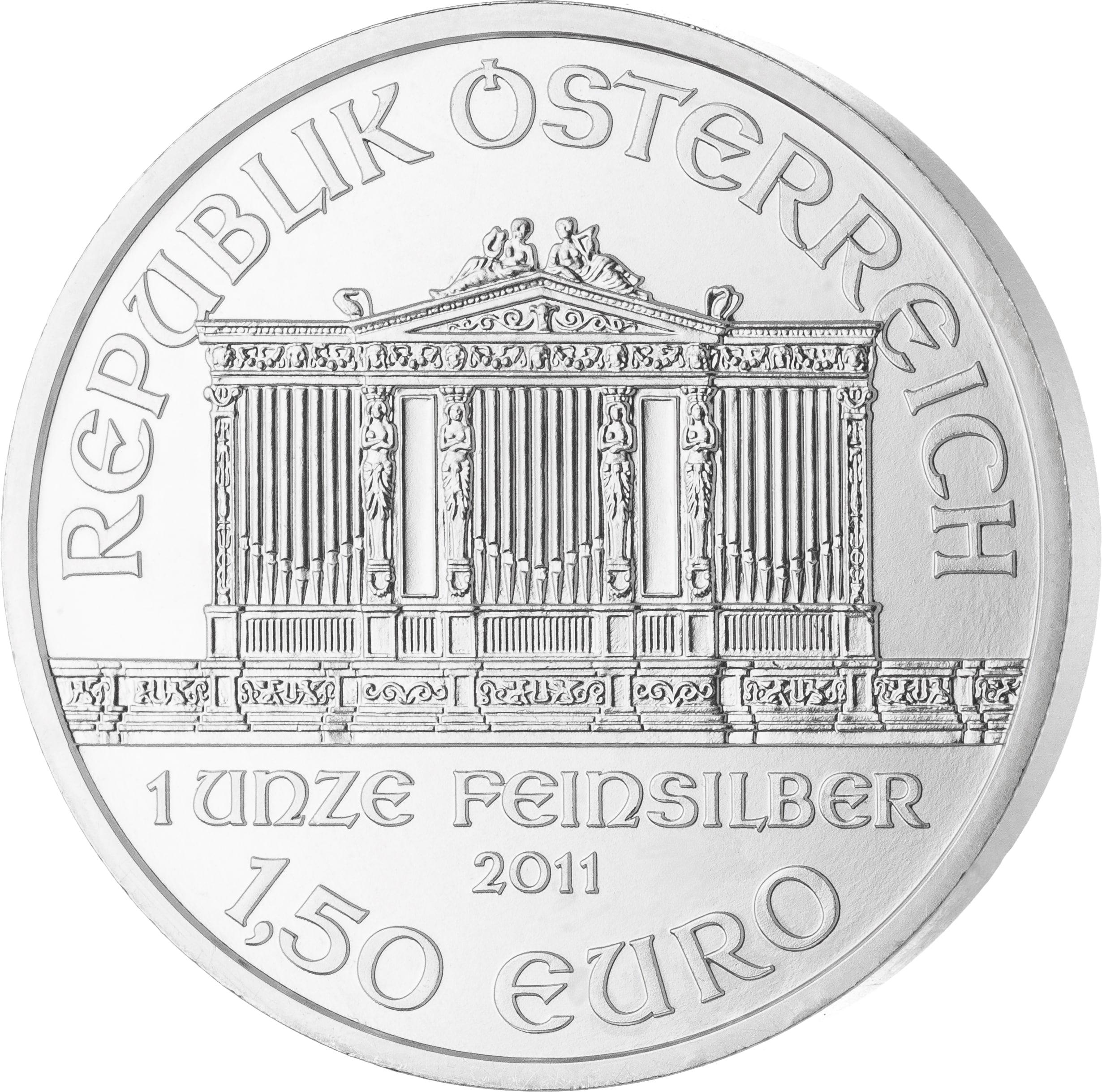1 Unze Wiener Philharmoniker Silbermünze Vorderseite