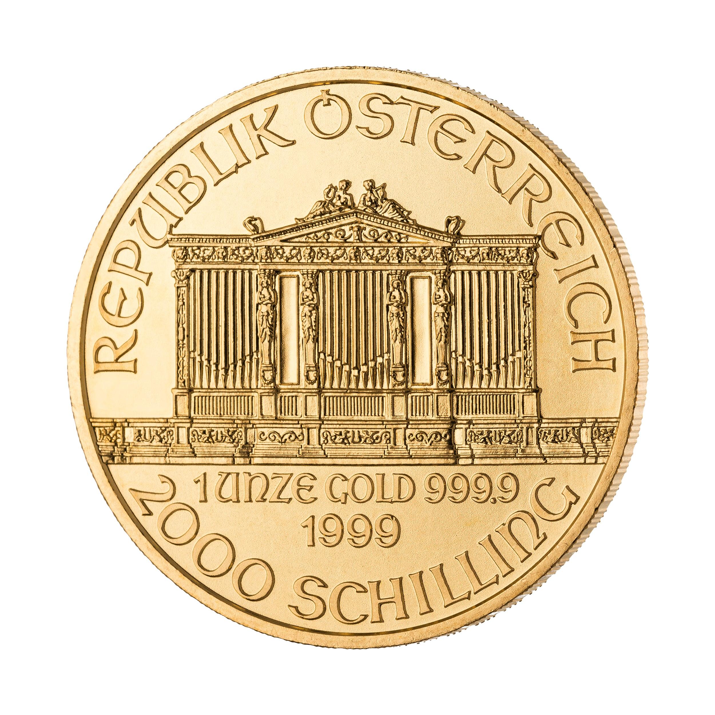 1 Unze Wiener Philharmoniker Goldmünze Vorderseite