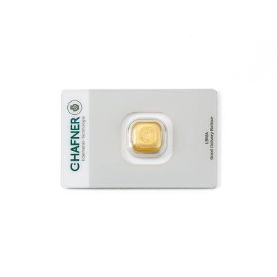 1 Unze Goldbarren Hafner verpackt Vorderseite Details