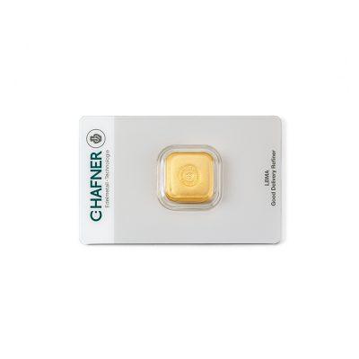 50g Goldbarren Hafner verpackt Vorderseite Details