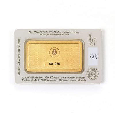 100g Goldbarren Hafner verpackt Rückseite