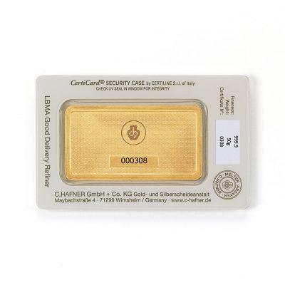 50g Goldbarren Hafner verpackt Rückseite