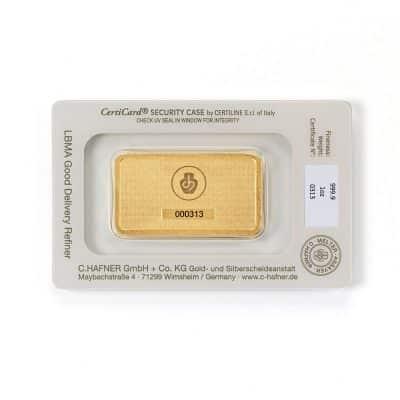 1 Unze Goldbarren Hafner verpackt Rückseite