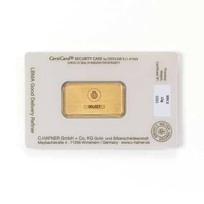 10g Goldbarren Hafner verpackt Rückseite
