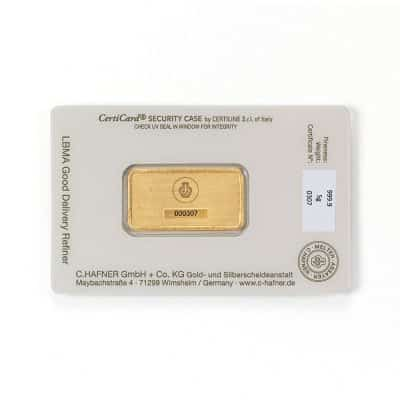 5g Goldbarren Hafner verpackt Rückseite