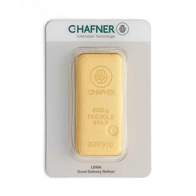 1000g Goldbarren Hafner verpackt Vorderseite