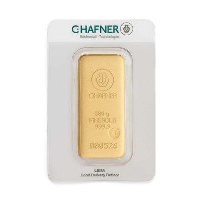 500g Goldbarren Hafner verpackt Vorderseite