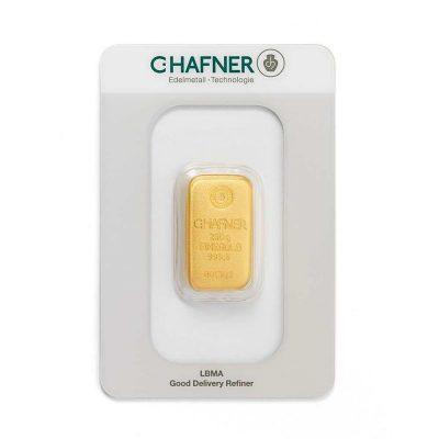 250g Goldbarren Hafner verpackt Vorderseite