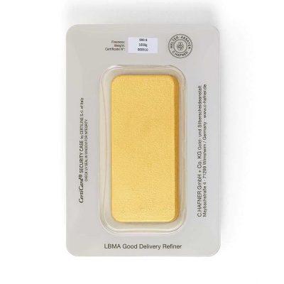 1000g Goldbarren Hafner verpackt Rückseite