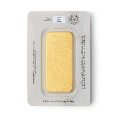 500g Goldbarren Hafner verpackt Rückseite