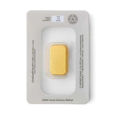 250g Goldbarren Hafner verpackt Rückseite