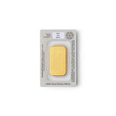 100g Goldbarren Hafner verpackt Rückseite Details