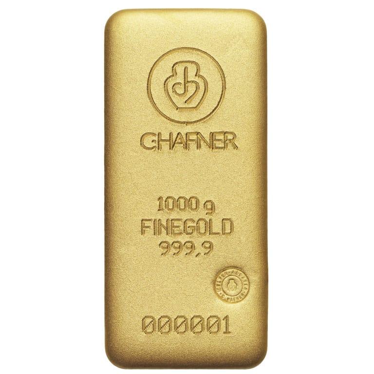 1000g Goldbarren Hafner Vorderseite