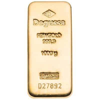 1000g Goldbarren von Degussa Vorderseite