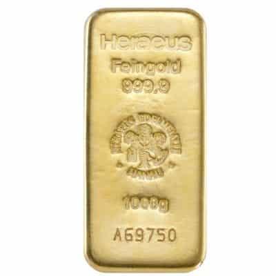 1000g Goldbarren Heraeus Vorderseite