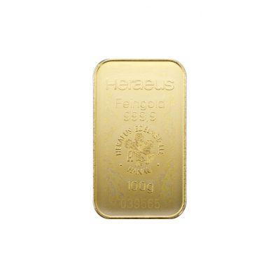 100g Goldbarren Heraeus Vorderseite