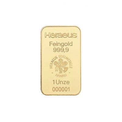 1 Unze Goldbarren Heraeus Vorderseite