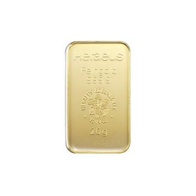 20g Goldbarren Heraeus Vorderseite