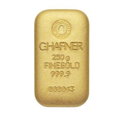 250g Goldbarren Hafner Vorderseite