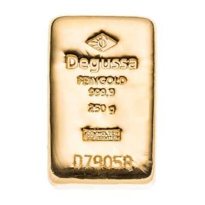 250g Goldbarren von Degussa Vorderseite