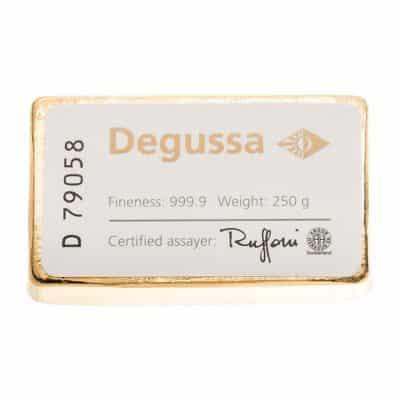 250g Goldbarren von Degussa Rückseite