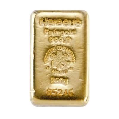250g Goldbarren Heraeus Vorderseite