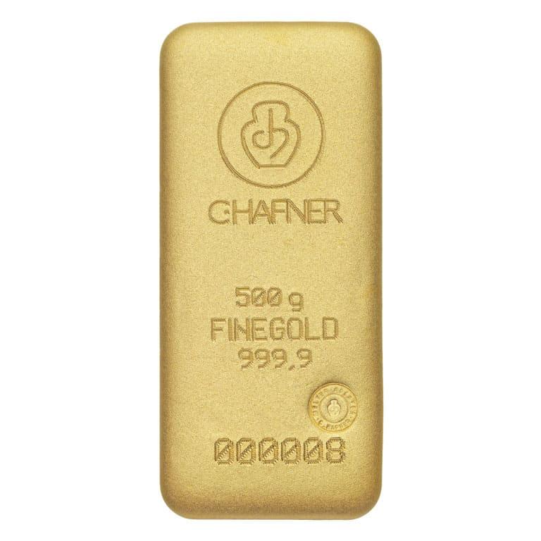 500g Goldbarren Hafner Vorderseite