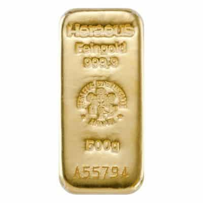 500g Goldbarren Heraeus Vorderseite