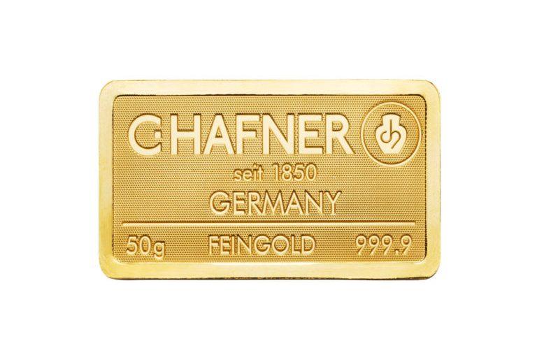 50g Goldbarren Hafner Vorderseite
