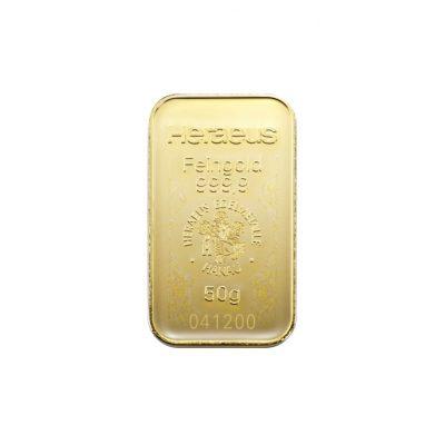 50g Goldbarren Heraeus Vorderseite