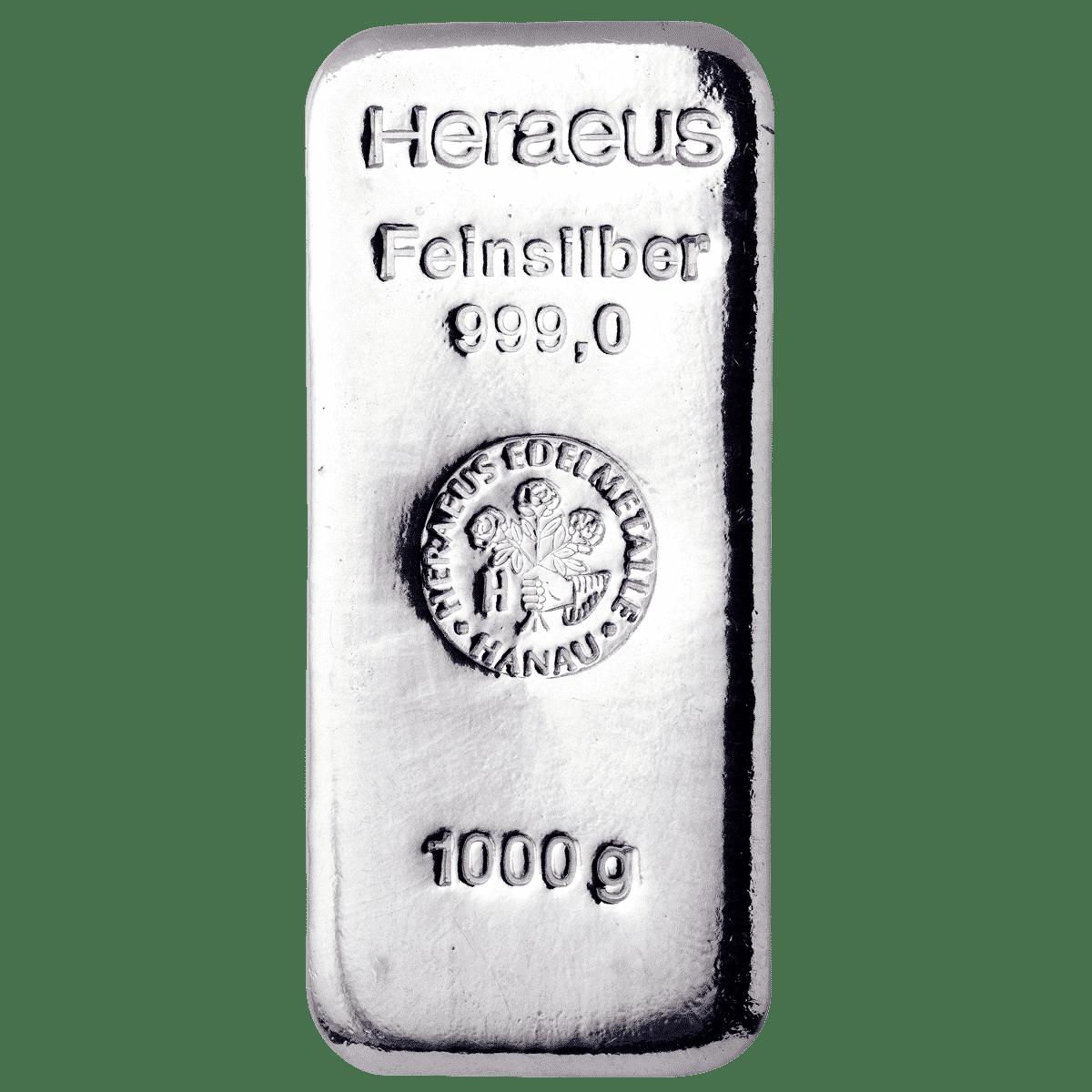 1000g Silberbarren Detailansicht
