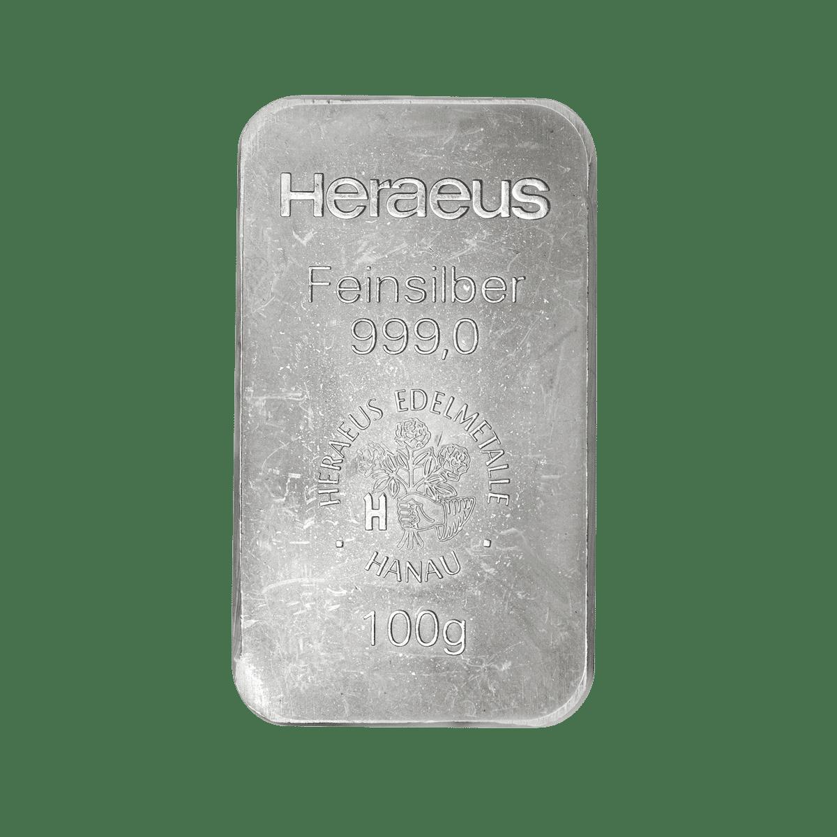 100g Silberbarren Detailansicht