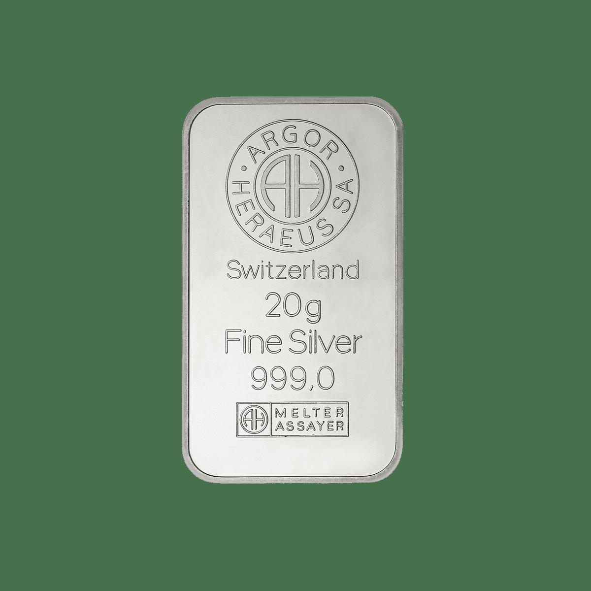 20g Silberbarren Detailansicht
