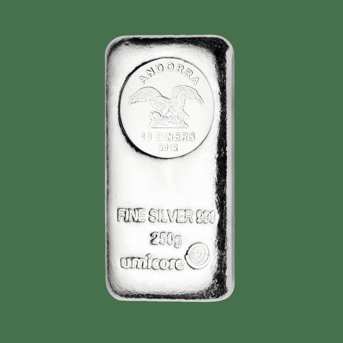 250g Silberbarren Detailansicht