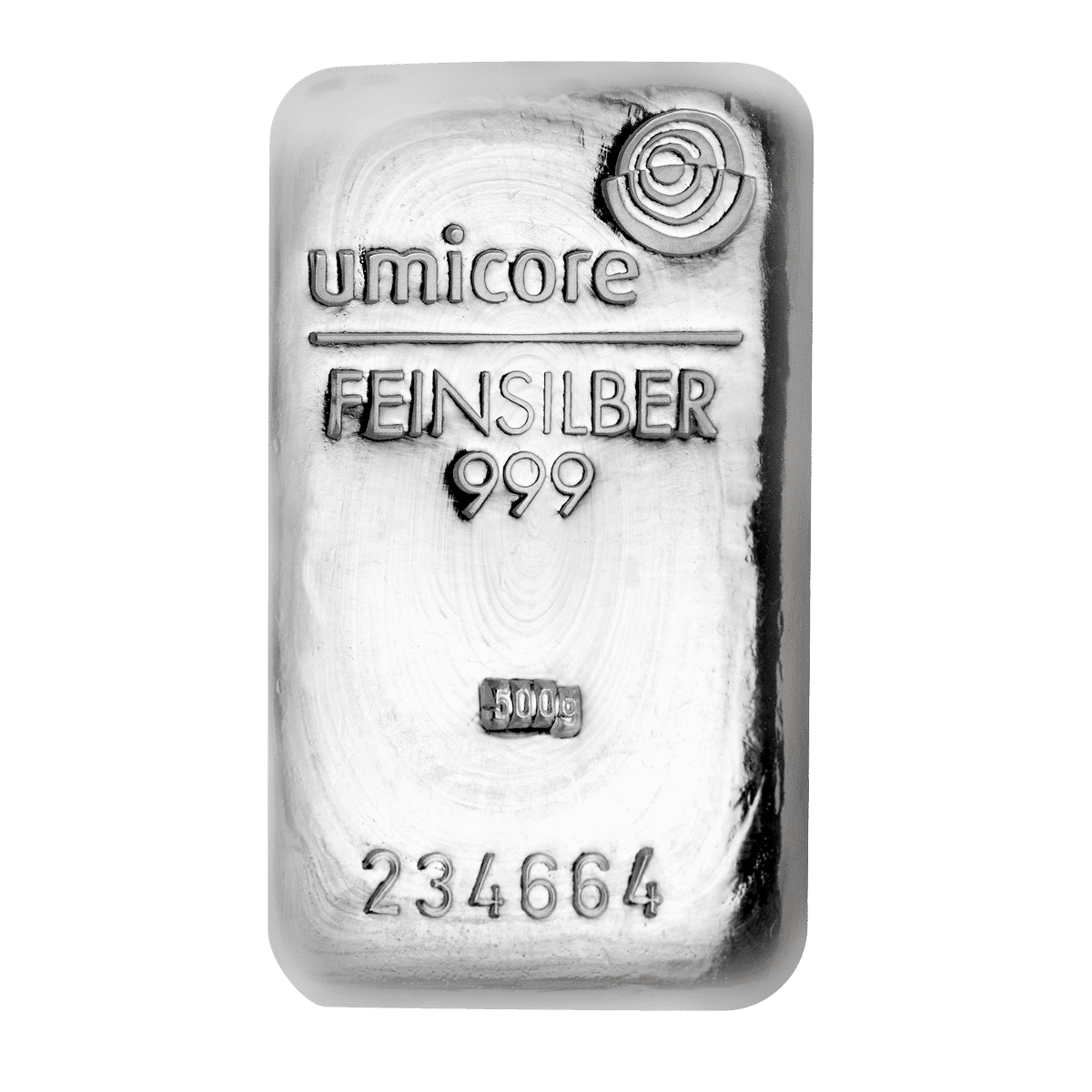 500g Silberbarren Detailansicht