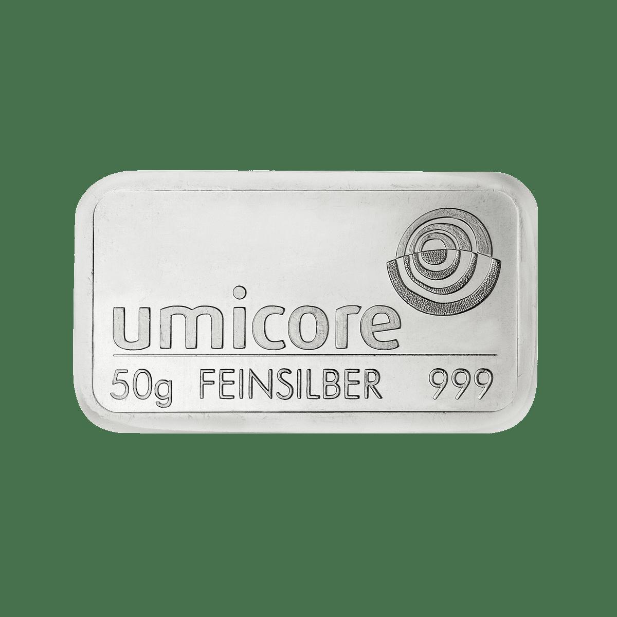 50g Silberbarren Detailansicht