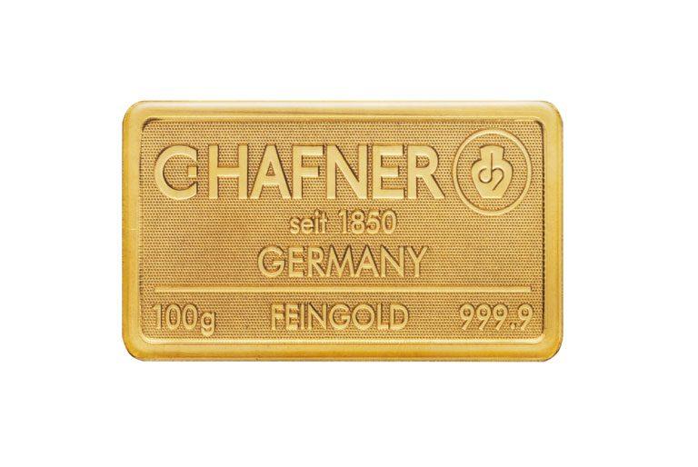 100g Goldbarren Hafner Vorderseite