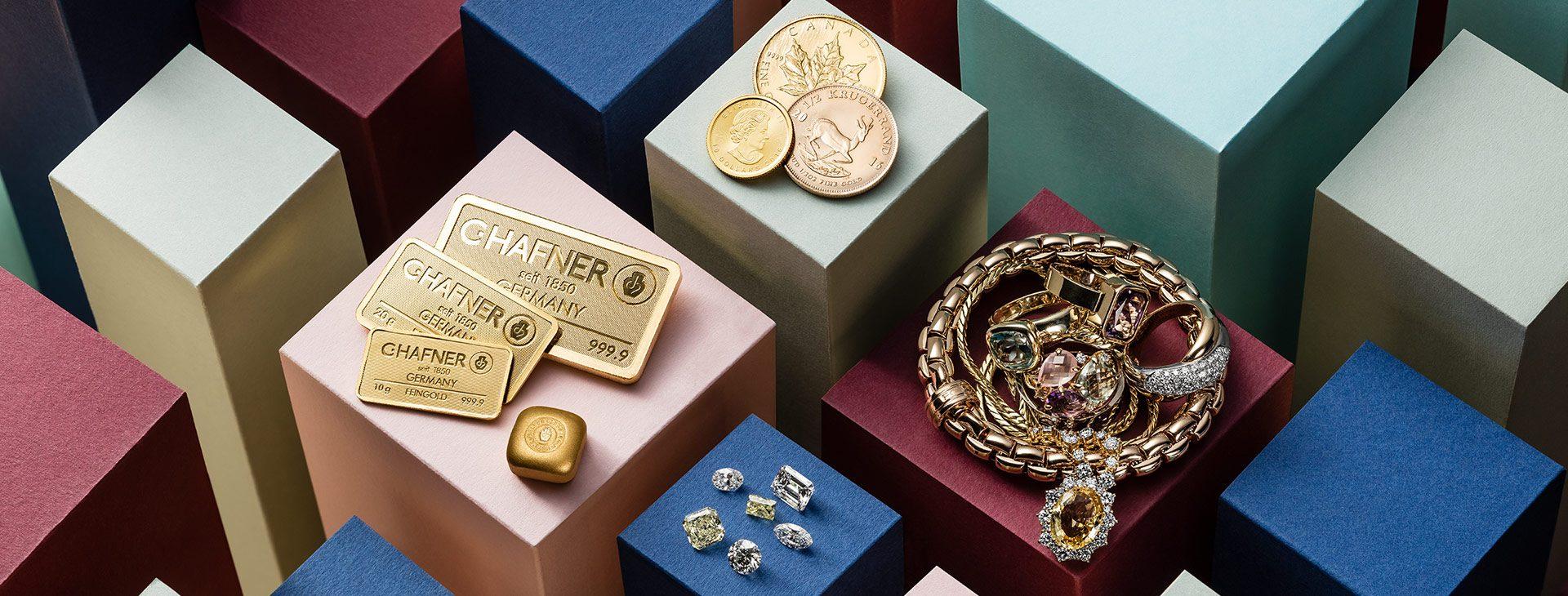 Wir kaufen Goldschmuck und Gold Anlagegüter sowie Diamanten